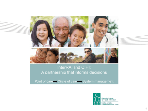 InterRAI and CIHI - e