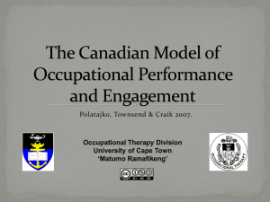 The Canadian Model of Occupational Performance and