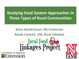 Studying Food System Approaches in Three Types of Rural