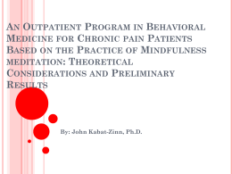 An Outpatient Program in Behavioral Medicine for Chronic pain