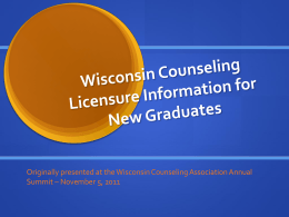 DSPS Licensure Information 2011 - University of Wisconsin Oshkosh