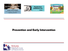 Prevention and early intervention services