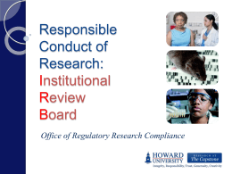 Responsible Conduct of Research: Institutional Review Board
