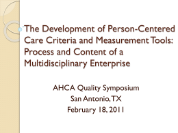 The Development of Person-Centered Care Criteria and