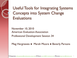 Evaluating Complex Systems Initiatives