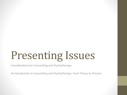 Summary of Key Considerations for Counselling and Psychotherapy