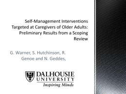Self-Management for Older Adults & Their Caregivers
