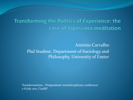 Transforming the Politics of Experience: the case of Vipassana