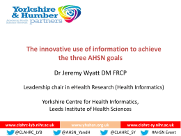 Information - Yorkshire & Humber Academic Health Science
