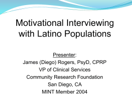 Using Motivational Interviewing (MI) with Latino Populations