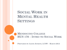Social Work in Mental Health Settings