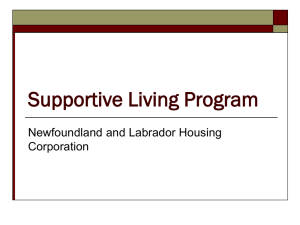 Supportive Living Program - Newfoundland and Labrador Housing