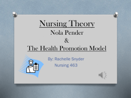 Nursing Theory: Nola Pender & The Health Promotion Model