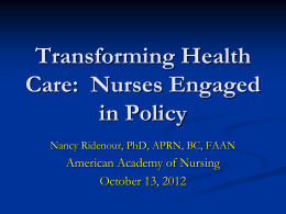 Dr. Nancy Ridenour - American Academy of Nursing