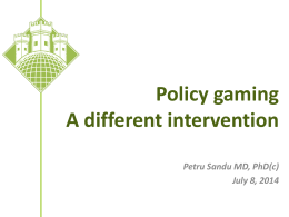 The Policy gaming - Cluj School of Public Health