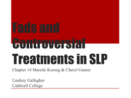 Chapter 14 Fads in speech-language pathology