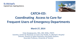 Presentation by Dr. Vicky Stergiopoulos on the CATCH