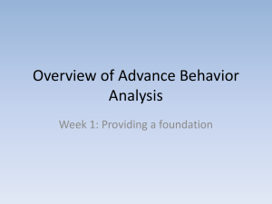 Overview of Advance Behavior Analysis