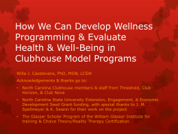 How We Can Develop Wellness Programming - NAMI-NC
