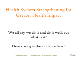 Unpacking Health System Performance for MCH and FP