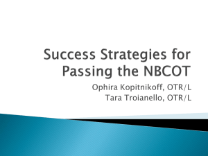 Success strategies for passing the NBCOT Exam
