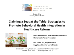 Claiming a Seat at the Table - Collaborative Family Healthcare