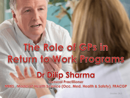 The Role of GPs in Return-to-Work Programs