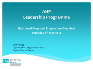 Will Young - AHP Leadership Programme Overview (MS Powerpoint