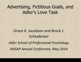 Advertising, Fictitious Goals, and Adler`s Love Task