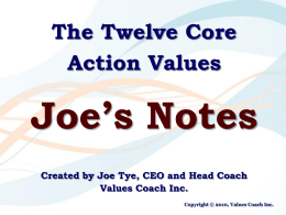 The Twelve Core Action Values with Joe`s notes
