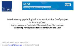 Low intensity psychological interventions for Deaf people in Primary