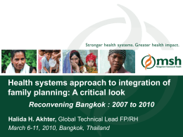 A Health Systems Approach to Integration of Family