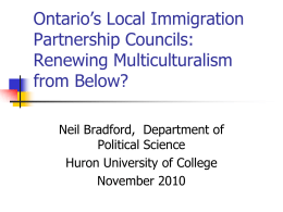 Ontario`s LIP Councils: Renewing Multiculturalism from Below?