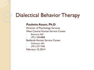 Dr. Paulette Aasen`s presentation on DBT