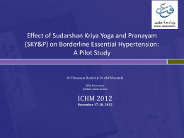Effect of Sudarshan Kriya Yoga and Pranayam (SKY&P)