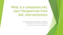 What is a competent AAC user? - School of Education