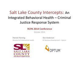Salt Lake County Intercepts: An Integrated Behavioral Health