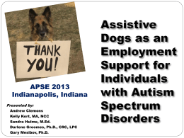 APSE – Human Animal Interactions, Autism