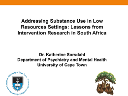 Sorsdahl Substance abuse in low resource settings