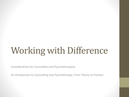 Summary of Counselling and Psychotherapy