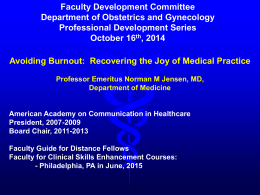 Burnout - UW Obstetrics and Gynecology