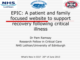 a patient and family focused website for use following critical illness