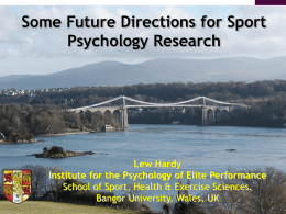 Some Future Directions for Research in Sport