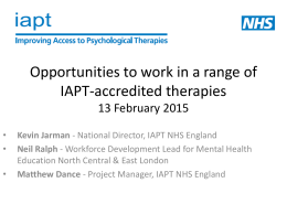 Opportunities to work in a range of IAPT