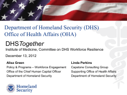 Presentation - DHS - Institute of Medicine