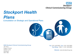Stockport Health Plans - NHS Stockport Clinical Commissioning Group