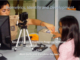Biometrics, Identity and Development
