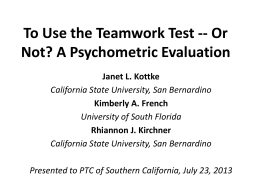 To Use the Teamwork Test - Personnel Testing Council of Southern