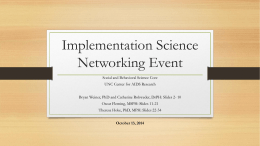 Implementation Science - UNC Center for AIDS Research