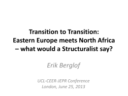 Transition to Transition: Emerging Europe meets North Africa